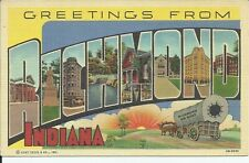 Greetings From Richmond Indiana Large Letter Linen Postcard Curt Teich
