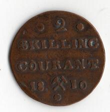 RARE MONNAIE DE 2 SKILLING COURANT EN BRONZE DE NORVEGE DE 1810 @ NORWAY COINS !