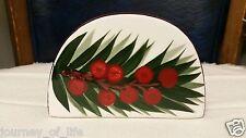 White & Burgundy Porcelain Ceramic Napkin  Letter Holder Palm Leaf Red Berries