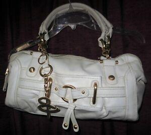 B. MAKOWSKY Off White Leather Gold Tone Hardware Shoulder Bag Handbag NW/OT