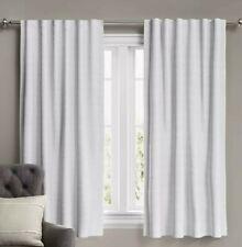 "Threshold Voile Overlay Blackout Rod Pocket Curtain Panel 84"" x 50"", White, x2"
