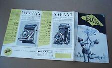 WELTA WELTIX WELTINI WELTUR BROCHURE DEPLIANT 1940 MACCHINA FOTOGRAFIA SOFFIETTO