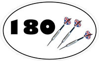 180 DARTS VINYL STICKER - DartsThemed Car Bumper Sticker 16 cm x 9 cm