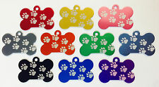 50 👍Walking Paw Print Dog Bone Pet ID tags Anodized ALuminum Laser Blank