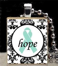 Teal Ribbon Hope Damask Pattern Scrabble Tile Pendant Ovarian Cancer Support S1