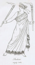 Bacchante Carrying Torches- Roman Mythology-1809 Copper Plate Engraving