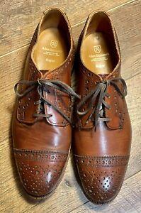 Allen Edmonds 'Rogue' Cognac Brown Cap Toe Brogue Dress Oxfords Size 9.5 E EUC!!