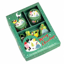 Christmas Cupcake Kit - Cases, Cake Toppers, Festive, Green, Merry Christmas