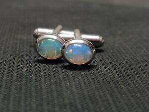Sterling Silver Ethiopian Opal Cufflinks silver Fire opal cufflinks 6x8 mm Oval