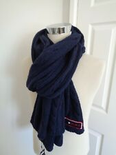 0f72f7f23466b Tommy Hilfiger Navy Wide Wool Blend Cable Knitted Scarf