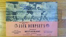 Jack Dempsey Signed Restaurant Menu - 1973 - LOA - Guaranteed to Pass PSA JSA