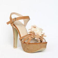 Plataforma con tiras sandalias 39 marrón pumps tacón alto stilettos Shoes xw9041 -