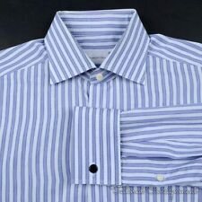 ERMENEGILDO ZEGNA Blue Striped 100% Cotton French Cuff Luxury Dress Shirt - 15.5