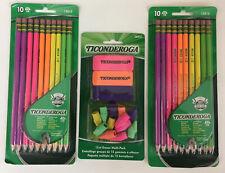 Lot Of 3 New Ticonderoga Neon 2 Pencils Sharpened 13810 Amp Erasers 38931