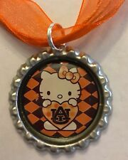 Handmade Auburn University Tigers AU Hello Kitty Inspired Bottle Cap Necklace