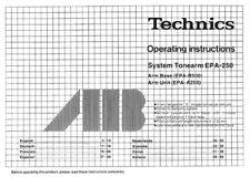 Technics EPA-250 Tonearm Owners Instruction Manual Reprint