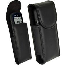 Schwarz Echt leder Tasche Hülle Case für Sony ICD-PX312 X333 X440 Diktiergeräte