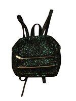 Skinny Dip Bag Small Glitter Back Pack Womens Blue & Green Sparkly Rucksack zip