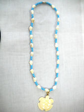 HONU CARVED SEA TURTLE PENDANT ON BABY BLUE GLASS BEAD & WHOLE SHELL NECKLACE