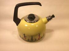 HB Quimper Yellow Enamel Tea Kettle Vintage
