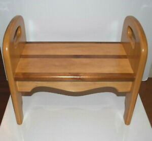 Vintage Arts & Crafts Inlay Wood Foot  Step Stool Hand Crafted Artist Signed