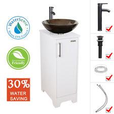 "14"" White Small Bathroom Vanity Cabinet Set & Glass Vessel Sink Faucet Drain"