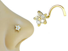 14K Solid Gold 6mm Star Flower Clear CZ Screw Shape Nose Stud Nose Ring Jewelry
