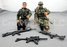 2 Military Action Figures Mixed Lot 12 In Poseable GI Joe MAC Power Team Weapons