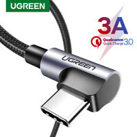 Ugreen 3A USB to Type C Angled Cable Fast Charging Fr Samsung S9 S8 GoPro Hero 6