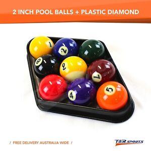 """2 1/4"""" Quality Billiards Pool Balls Set + Plastic Diamond Rack Free Postage"""