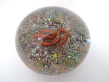 1970's DELMO TARSITANO Studio Art Glass PAPERWEIGHT Coiled Copper SNAKE on SAND