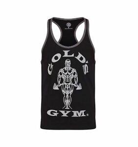 Golds Gym Tank Top Stringer Joe Contrast - Black/Grey MARL