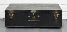 Antique Vintage Metal Travel Trunk Blanket Box Chest Storage Industrial Rustic