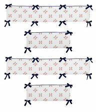 Red White Blue Baby Crib Bumper Pad for Baseball Sports by Sweet Jojo Designs