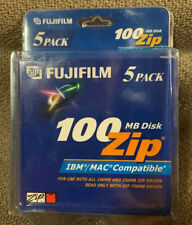 Fuji Fujifilm 5 Pack 100 MB Zip Disk Use w/ 100MB & 250MB Zip Drives Read w750MB