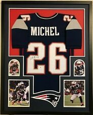 FRAMED NEW ENGLAND PATRIOTS SONY MICHEL AUTOGRAPHED SIGNED JERSEY BECKETT COA