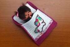 """Puppenbettchen - Schlafsack """"Süßes Einhorn"""" für Monchichi 20 cm  freesie weiß"""