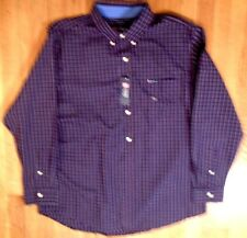 "NWT, CHAPS, Maroon & Blue Plaid, No-Iron Fabric, Sz XL, 18 1/2"" Collar (LS-424)"