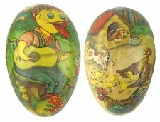 Vtg W Germany Paper Easter Egg Duck Playing Guitar Puppies Chasing Chickens