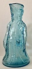Antique Hand Blown Blue GLASS Military Minuteman COLONIAL MAN Handled PITCHER