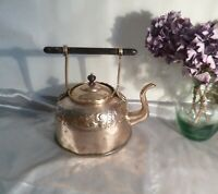 Antique Victorian Brass Kettle with Repouse Design-Army and Navy Store