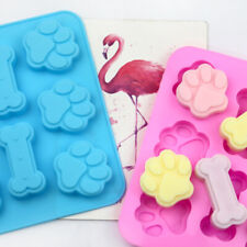 Silicone 6pcs Bone Cat Dog Paws Chocolate Mould Ice Cube Tray Candy Biscuit Mold