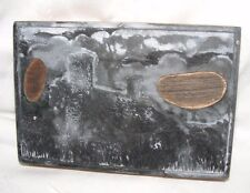 Vintage metal Printing Press plaque de gravure en zinc Welsh ferme tirderwen
