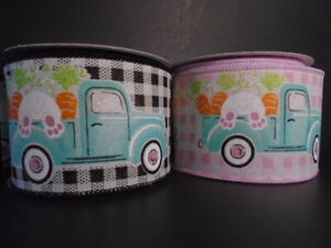 "Easter Bunny Vintage Blue Truck Gingham Plaid Wire Ribbon*2.5"" (2 LNGTHS/COLORS)"
