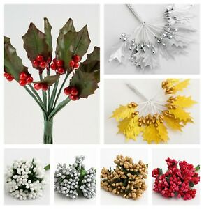 Christmas Holly and Berry Sprays Bunch of 12 Berries Picks Embellishment Crafts