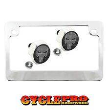 Chrome Metal Motorcycle License Plate Frame Hex Tag Bolt Kit - PUNISHER SKULL C