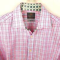 Thomas Dean Mens Shirt M Plaid Check Button Down Multi-Color Long Sleeve