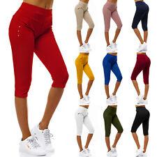 Damen Stretch Kurze Hose Jeans-Look Röhre Skinny Leggings Treggings Jeggings