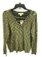 Michael Kors Womens Large Sweater Criss Cross Lace Up V Neck Ivy Green NWT