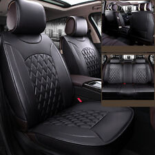All 5-Seats Car Front+Rear Row Seat Cover Mat PU Leather Chair Cushion Black BCL